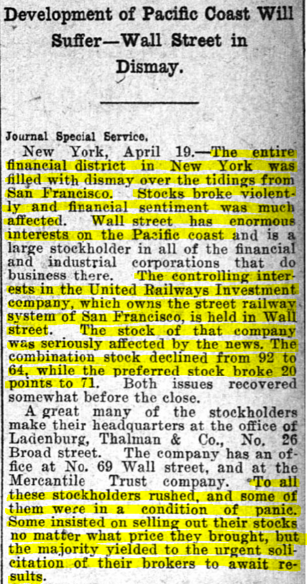 Newspaper clipping of article about San Francisco Earthquake